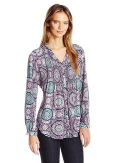 Foxcroft Women's Long Sleeve Hi-Lo Medallion Print Blouse