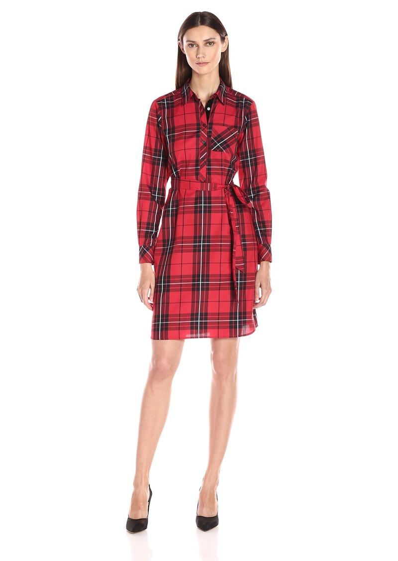 Foxcroft Women's Long Sleeve Holiday Tartan Shirt Dress Red