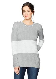 Foxcroft Women's Long Sleeve Josie Ribbed Stripe Colorblock Sweater  L