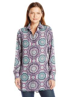 Foxcroft Women's Long Sleeve Medallion Print Maxi Tunic