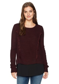 Foxcroft Women's Long Sleeve Mixed Fabric Pullover Sweater  L
