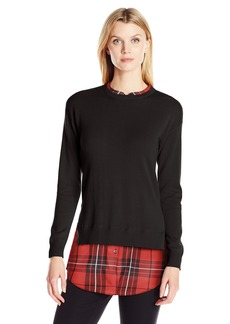 Foxcroft Women's Long Sleeve Pullover With Contrast Plaid Sweater