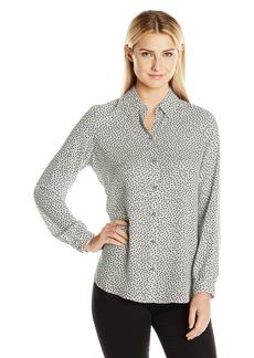 Foxcroft Women's Long Sleeve Random Dot Blouse