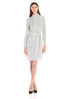 Foxcroft Women's Long Sleeve Random Dot Shirt Dress  18
