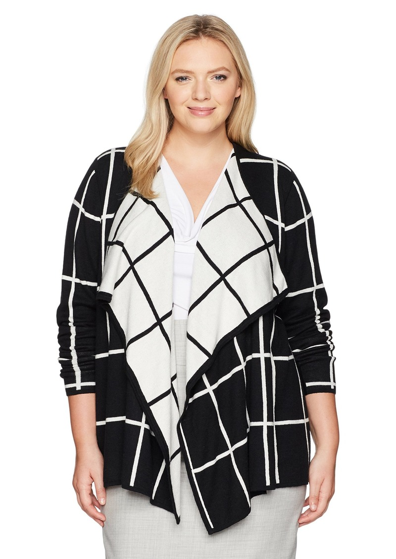 005fd15e33c Women's Long Sleeve Reversible Window Pane Cardigan M