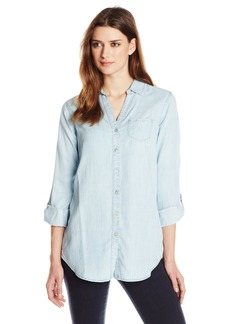 Foxcroft Women's Long Sleeve Roll-Tab Solid Denim Tencel Tunic