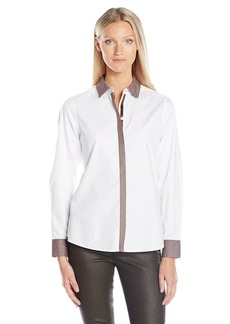 Foxcroft Women's Long Sleeve Solid Non Iron Shirt With Contrast Detail