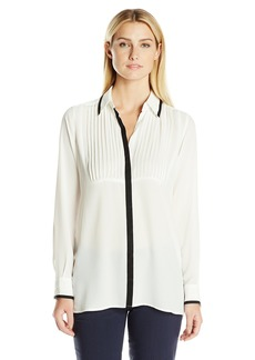 Foxcroft Women's Long Sleeve Solid With Ribbon Tunic