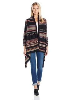 Foxcroft Women's Long Sleeve Stripe Jacquard Open Cardigan