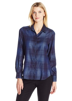 Foxcroft Women's Long Sleeve Tartan Denim Tencel Shirt