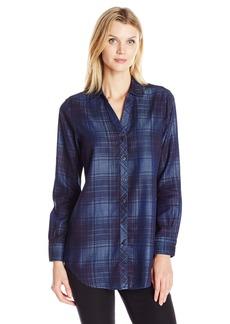 Foxcroft Women's Long Sleeve Tartan Denim Tencel Tunic