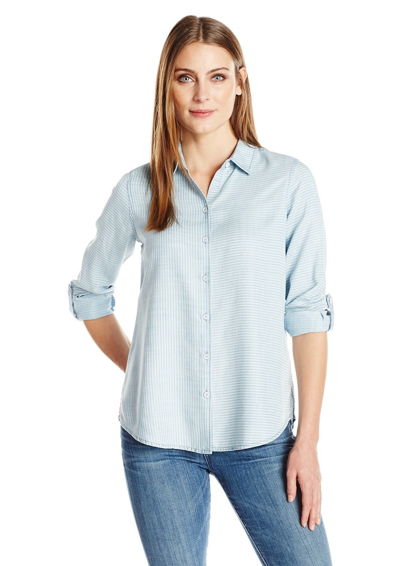 Foxcroft Women's Long Sleeve Zoey Pinstripe Denim Tencel Shirt