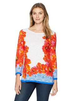 Foxcroft Women's Maye Hibiscus Floral Knit