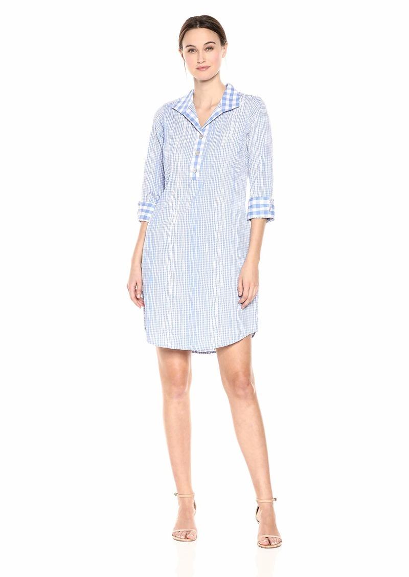 Foxcroft Women's Miri Crinkle Gingham Dress Perfect peri