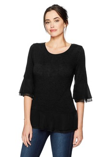 Foxcroft Women's Mixed Fabric Pullover Knit  S