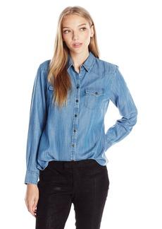 Foxcroft Women's Size Long Sleeve Denim Tencel Blouse
