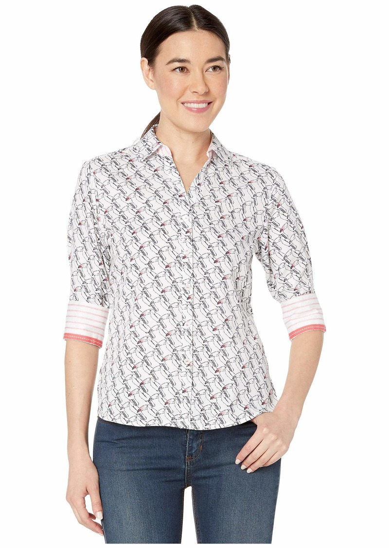Foxcroft Womens Petite Mary Gingham Non Iron Shirt