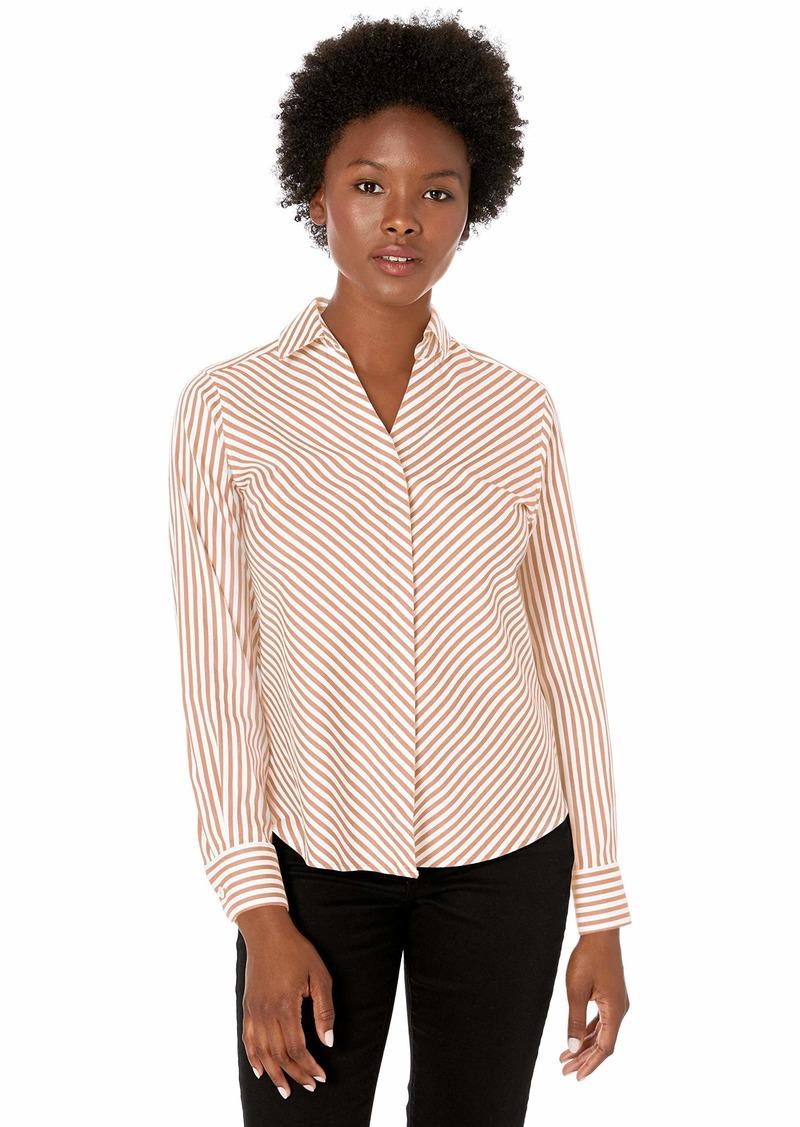 Foxcroft Women's Petite Mona Non Iron Stripe Shirt