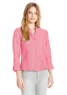Foxcroft Women's Petite Size 3/4 Sleeve Taylor Chambray Linen Shirt  16P