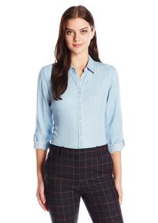 Foxcroft Women's Petite Size Long Sleeve Zoey Denim Tencel Shirt  14P