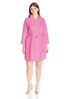 Foxcroft Women's Plus Size 3/4 Sleeve Taylor Shirt Dress Essential Non Iron