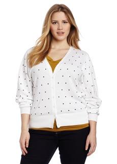 Foxcroft Women's Plus-Size Dot V-Neck Cardigan
