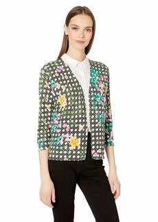Foxcroft Women's Plus Size Jin Floral Wicker Print Cardigan