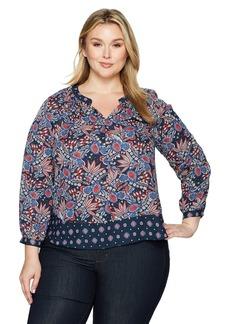 Foxcroft Women's Plus Size Long Sleeve Hannah Paisley Blouse