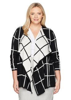 Foxcroft Women's Plus Size Long Sleeve Reversible Window Pane Cardigan