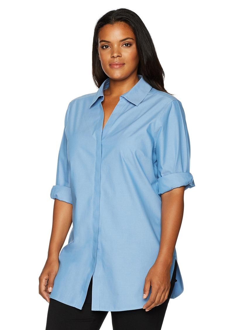 5094d34e0ba58 Foxcroft Foxcroft Women s Plus Size Vera Solid Non Iron Tunic 20W ...