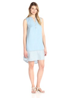 Foxcroft Women's Sleeveless Mika Mixed Denim Tencel Dress
