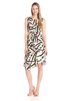 Foxcroft Women's Sleeveless Morgan Brushstroke Floral Linen Dress