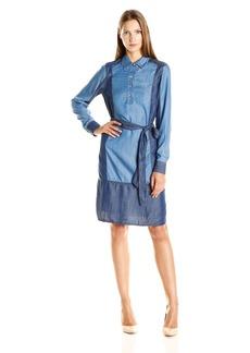 Foxcroft Women's Solid Colorblock Denim Tencel Dress