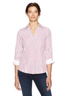 Foxcroft Women's Petite Taylor Slim Stripe Non Iron Shirt  4P