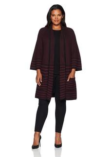 Foxcroft Women's Textured Stripe Open Cardigan  S