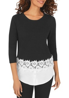 Foxcroft Zadie Layered-Look Lace Trim Sweater