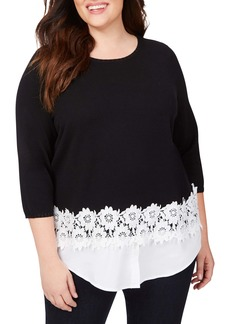 Foxcroft Zadie Layered Look Sweater (Plus Size)