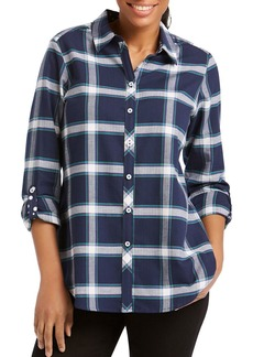 Foxcroft Zella Windowpane Button-Down Shirt