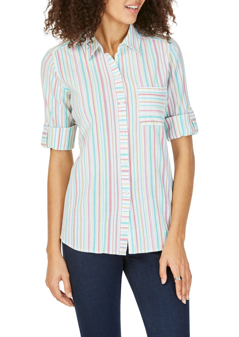 Foxcroft Zen Crinkle Stripe Cross Back Cotton Blouse