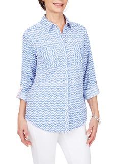 Foxcroft Zoey Chevron Non-Iron Button-Up Shirt