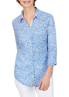 Foxcroft Zoey Coral Reef Cotton Voile Button-Up Shirt