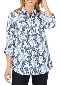 Foxcroft Zoey Dragonfly Print Cotton Slub Button-Up Shirt