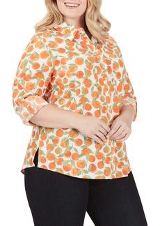 Foxcroft Zoey Tossed Oranges Cotton Blouse (Plus Size)