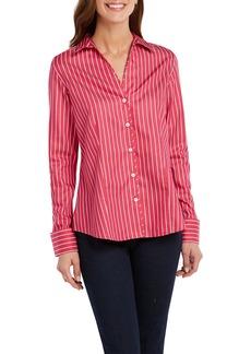 Foxcroft Lauren Long Sleeve Striped Shirt