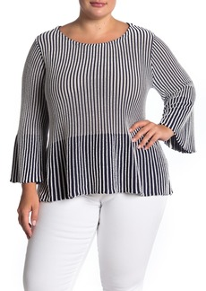 Foxcroft Priyana Stripe Bell Sleeve Sweater (Plus Size)