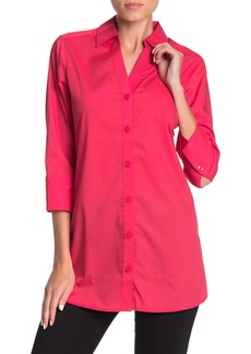 Foxcroft Rose 3/4 Length Sleeve Solid Tunic