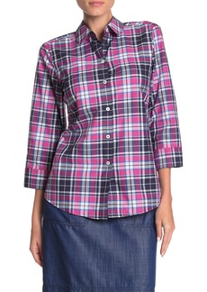 Foxcroft Sue 3/4 Sleeve Weekend Plaid Shirt