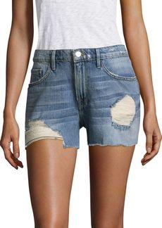FRAME Albion Distressed Denim Shorts