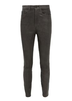 FRAME Ali High-Rise Charcoal Leather Pants
