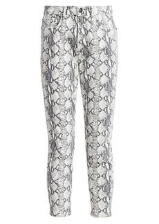 FRAME Ali High-Rise Python-Print Cigarette Jeans